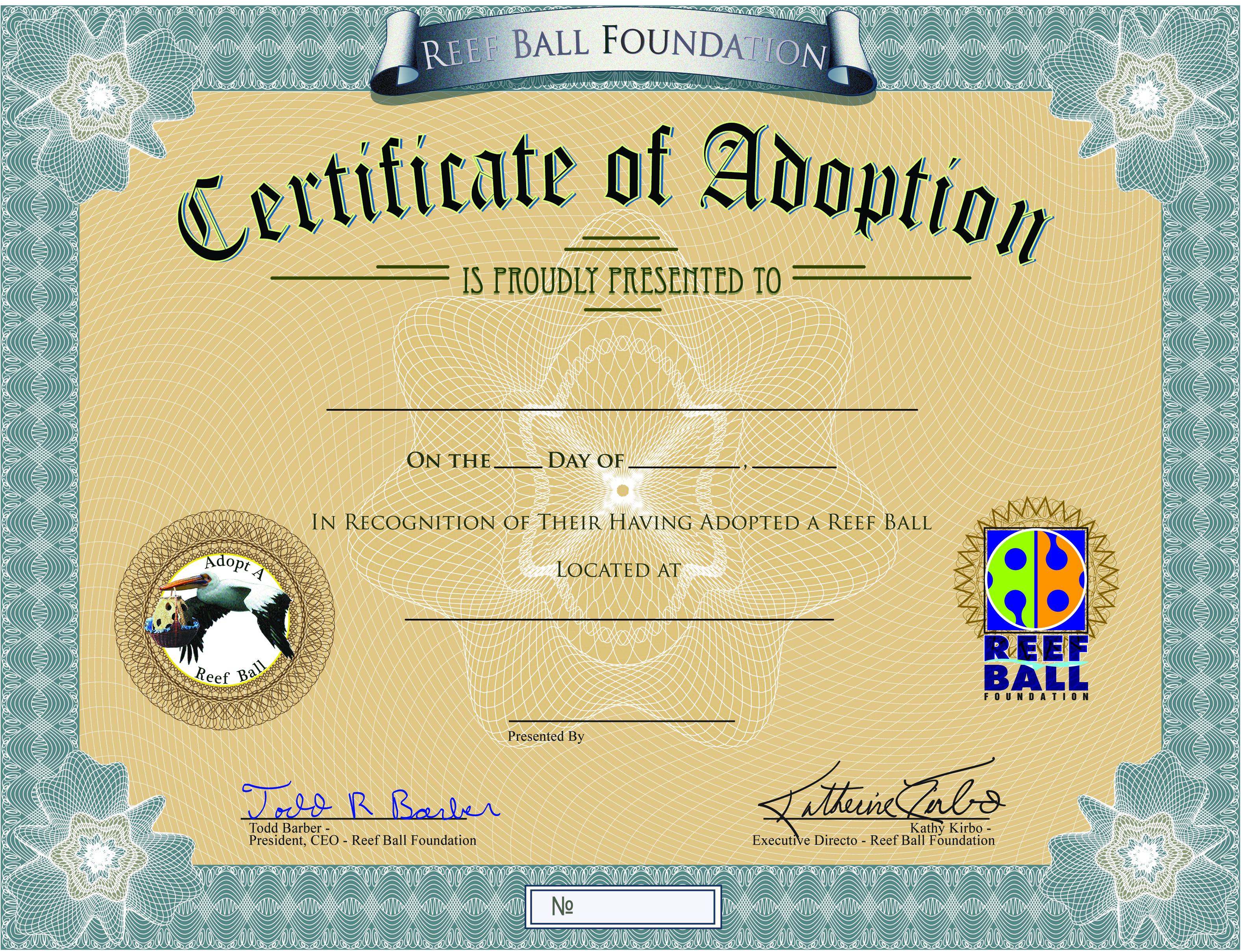 Adopt a Reef Ball Certificate