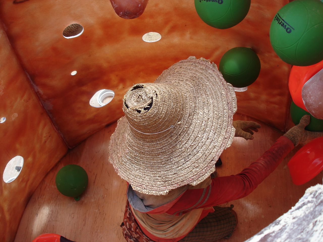 Inside the Reef Ball mold with tether balls - Borneo