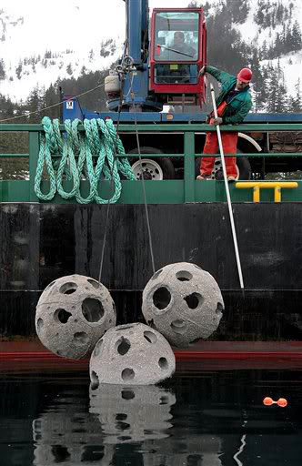 Crane deployment of Reef Balls in Whittier, Alaska